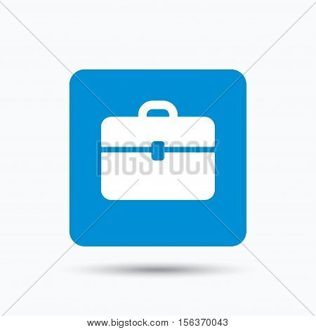 Briefcase icon. Diplomat handbag symbol. Business case sign. Blue square button with flat web icon. Vector