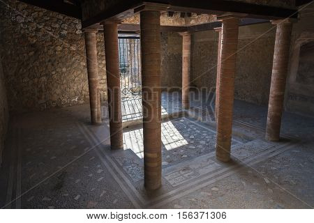 Interior of a house in the ancient city of Pompeii destroyed during a catastrophic eruption of the volcano Mount Vesuvius in 79 AD