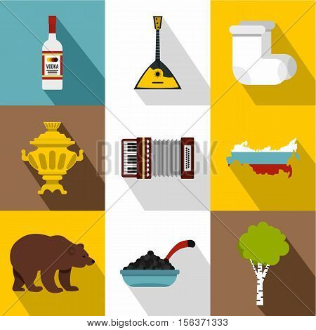 Attractions of Russia icons set. Flat illustration of 9 attractions of Russia vector icons for web