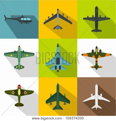 Military aircraft icons set. Flat illustration of 9 military aircraft vector icons for web