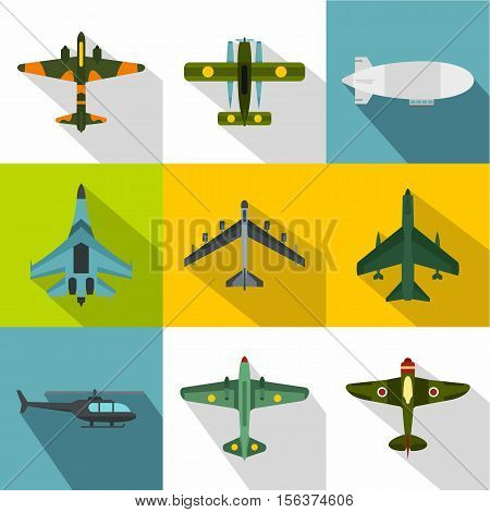 Military air transport icons set. Flat illustration of 9 military air transport vector icons for web