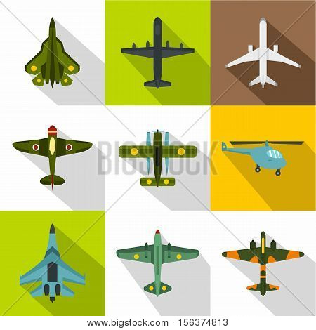 Combat aircraft icons set. Flat illustration of 9 combat aircraft vector icons for web