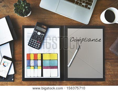 Compliance Policy Procedure Conformity Obedience Concept