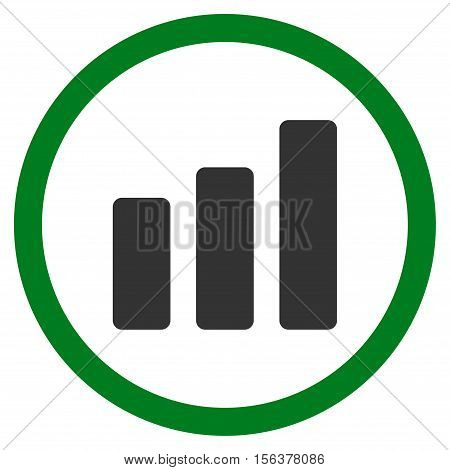 Bar Chart Increase vector bicolor rounded icon. Image style is a flat icon symbol inside a circle, green and gray colors, white background.