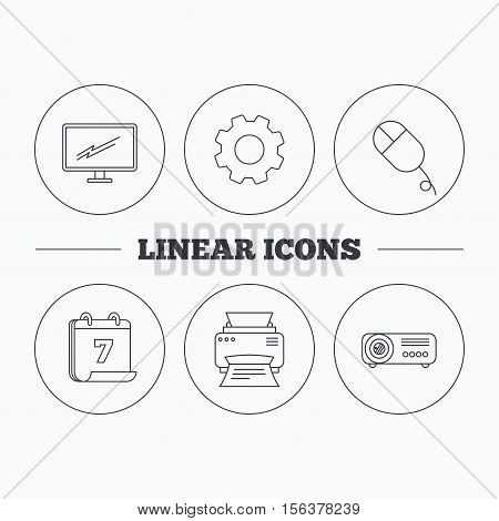 Monitor, printer and projector icons. PC mouse linear sign. Flat cogwheel and calendar symbols. Linear icons in circle buttons. Vector