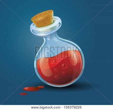 Vector illustration of a bottle filled with red potion