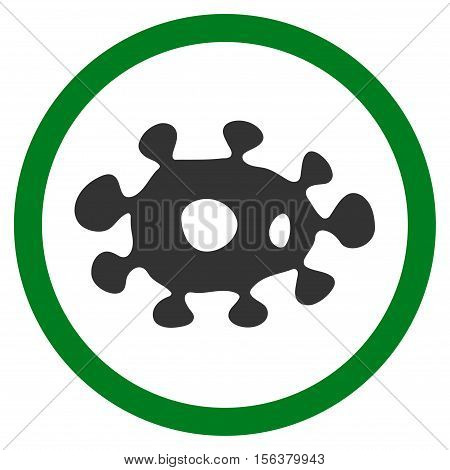 Virus vector bicolor rounded icon. Image style is a flat icon symbol inside a circle, green and gray colors, white background.