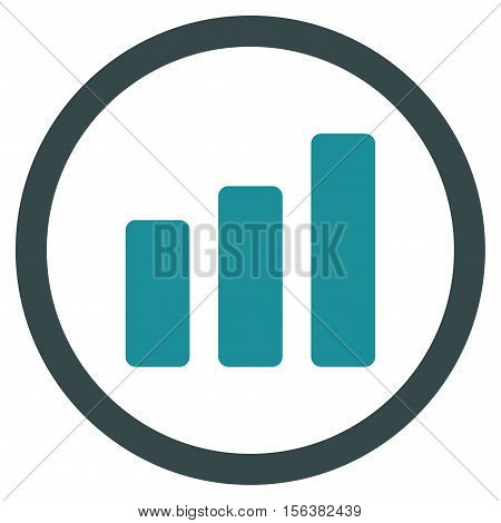 Bar Chart Increase vector bicolor rounded icon. Image style is a flat icon symbol inside a circle, soft blue colors, white background.