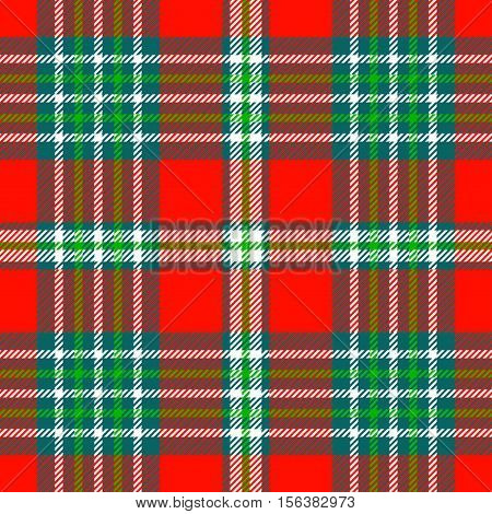 Seamless tartan plaid pattern in Christmas color palette of red, green & white. Traditional checkered design print. Plaid fabric texture background.