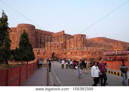 AGRA, INDIA - FEBRUARY 14: Amar Singh Gate of Agra Fort, UNESCO World heritage site in Agra. Uttar Pradesh, India on February 14, 2016.