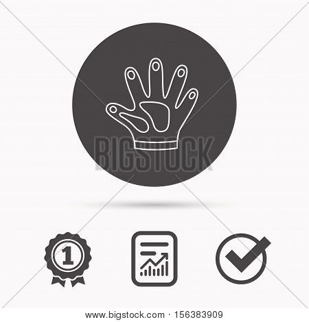Construction gloves icon. Textile hand protection sign. Housework cleaning equipment symbol. Report document, winner award and tick. Round circle button with icon. Vector