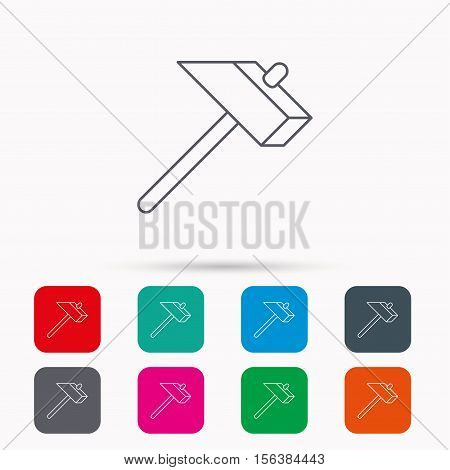 Hammer icon. Repair or fix sign. Construction equipment tool symbol. Linear icons in squares on white background. Flat web symbols. Vector