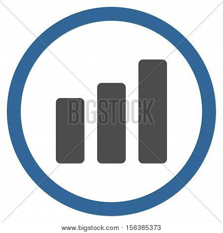 Bar Chart Increase vector bicolor rounded icon. Image style is a flat icon symbol inside a circle, cobalt and gray colors, white background.