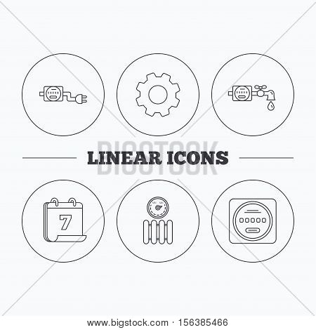 Electricity, radiator and water counter icons. Counter linear sign. Flat cogwheel and calendar symbols. Linear icons in circle buttons. Vector