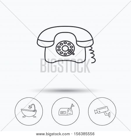 Retro phone, video camera and mailbox icons. Bath linear sign. Linear icons in circle buttons. Flat web symbols. Vector