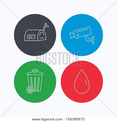 Mailbox, video monitoring and water drop icons. Trash bin linear sign. Linear icons on colored buttons. Flat web symbols. Vector