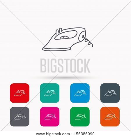 Iron icon. Ironing housework sign. Laundry service symbol. Linear icons in squares on white background. Flat web symbols. Vector