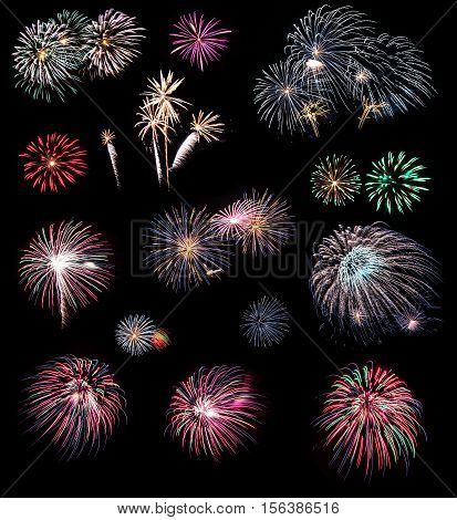 Real fireworks isolated on the black background