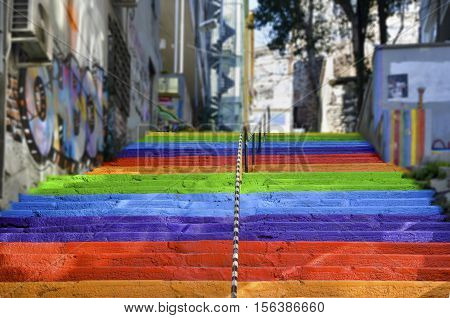 Istanbul Turkey - February 02 2014: Rainbow-colored stairs in Istanbul. Stairs in the Cihangir and Findikli neighborhoods which attracts attention after being painted in rainbow colors by a local man on August 27 2013.