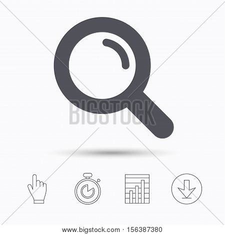 Magnifier icon. Search magnifying glass symbol. Stopwatch timer. Hand click, report chart and download arrow. Linear icons. Vector