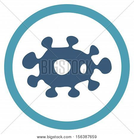 Virus vector bicolor rounded icon. Image style is a flat icon symbol inside a circle, cyan and blue colors, white background.