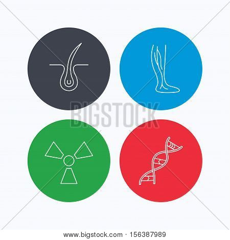 Phlebology, trichology and DNA icons. Radiology linear sign. Linear icons on colored buttons. Flat web symbols. Vector