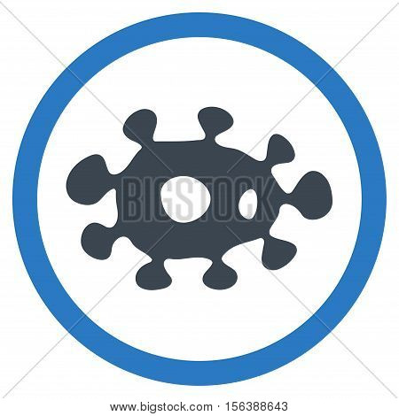 Virus vector bicolor rounded icon. Image style is a flat icon symbol inside a circle, smooth blue colors, white background.