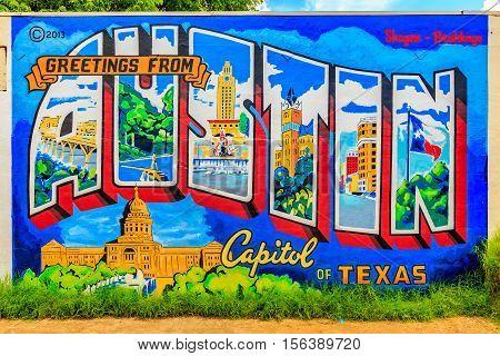 Austin postcard mural bigstock for Austin postcard mural