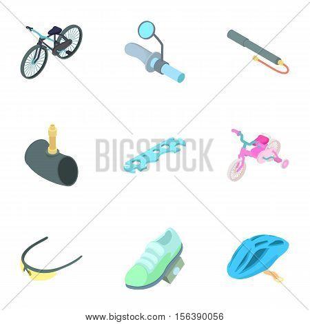 Bike icons set. Cartoon illustration of 9 bike vector icons for web