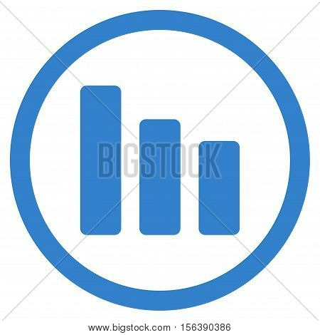 Bar Chart Decrease vector rounded icon. Image style is a flat icon symbol inside a circle, cobalt color, white background.