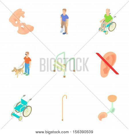 Disabled icons set. Cartoon illustration of 9 disabled vector icons for web