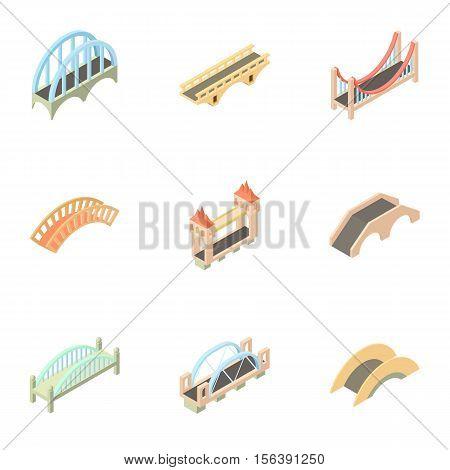 Bridge transition icons set. Cartoon illustration of 9 bridge transition vector icons for web