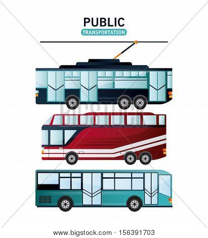 Bus and trolley vehicle icon. Public Transportation travel and ride theme. Isolated and colorful design. Vector illustration