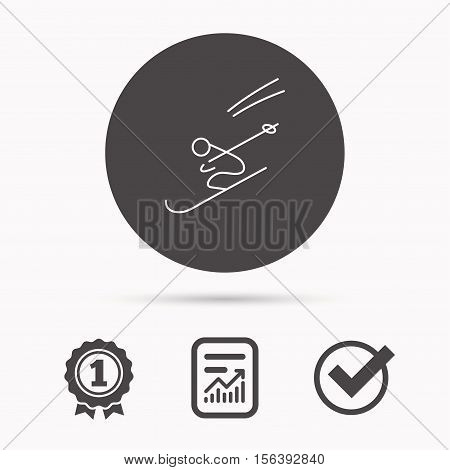 Skiing icon. Skis jumping extreme sport sign. Speed competition symbol. Report document, winner award and tick. Round circle button with icon. Vector