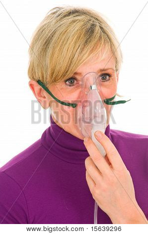 woman with mask for aerosol in white background