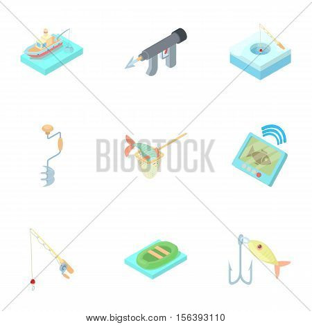 Fish catch icons set. Cartoon illustration of 9 fish catch vector icons for web