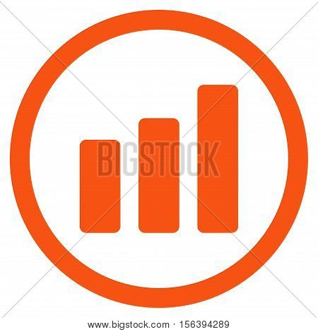 Bar Chart Increase vector rounded icon. Image style is a flat icon symbol inside a circle, orange color, white background.