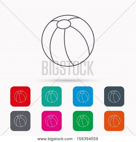 Swimming ball icon. Beach toy sign. Linear icons in squares on white background. Flat web symbols. Vector