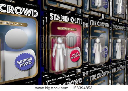 Stand Out from Crowd Action Figure People Advantage 3d Illustration