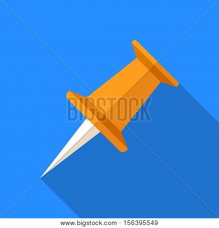 Colorful pushpin icon in modern flat style with long shadow. Vector illustration