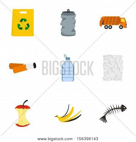Garbage icons set. Flat illustration of 9 garbage vector icons for web