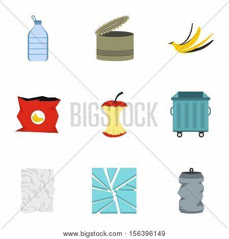 Trash icons set. Flat illustration of 9 trash vector icons for web