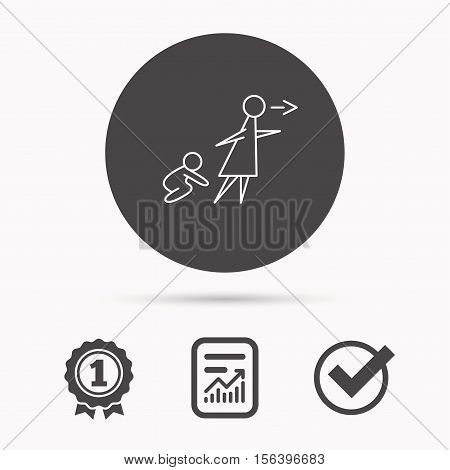 Unattended baby icon. Babysitting care sign. Do not leave your child alone symbol. Report document, winner award and tick. Round circle button with icon. Vector