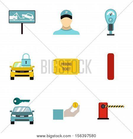 Valet parking icons set. Flat illustration of 9 valet parking vector icons for web