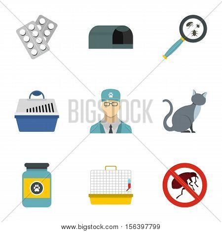 Veterinary things icons set. Flat illustration of 9 veterinary things vector icons for web