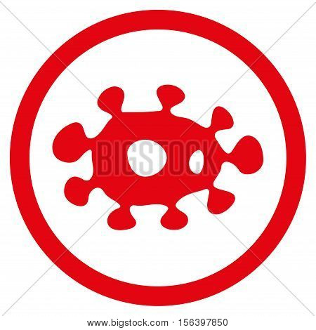 Virus vector rounded icon. Image style is a flat icon symbol inside a circle, red color, white background.