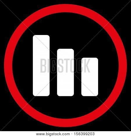 Bar Chart Decrease vector bicolor rounded icon. Image style is a flat icon symbol inside a circle, red and white colors, black background.
