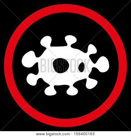 Virus vector bicolor rounded icon. Image style is a flat icon symbol inside a circle, red and white colors, black background.