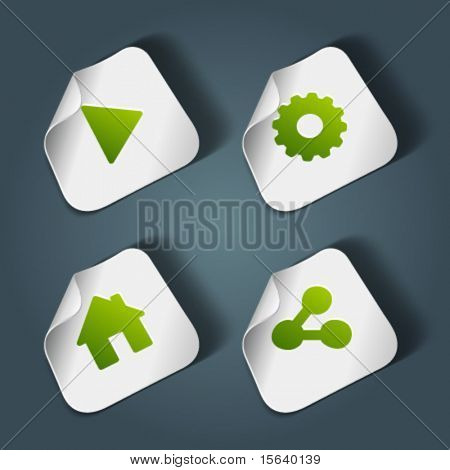 Vector icons on stickers set 1. Transparent shadow easy replace background and edit colors.