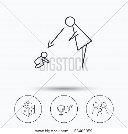 Male, female, dice and family icons. Under supervision linear sign. Linear icons in circle buttons. Flat web symbols. Vector